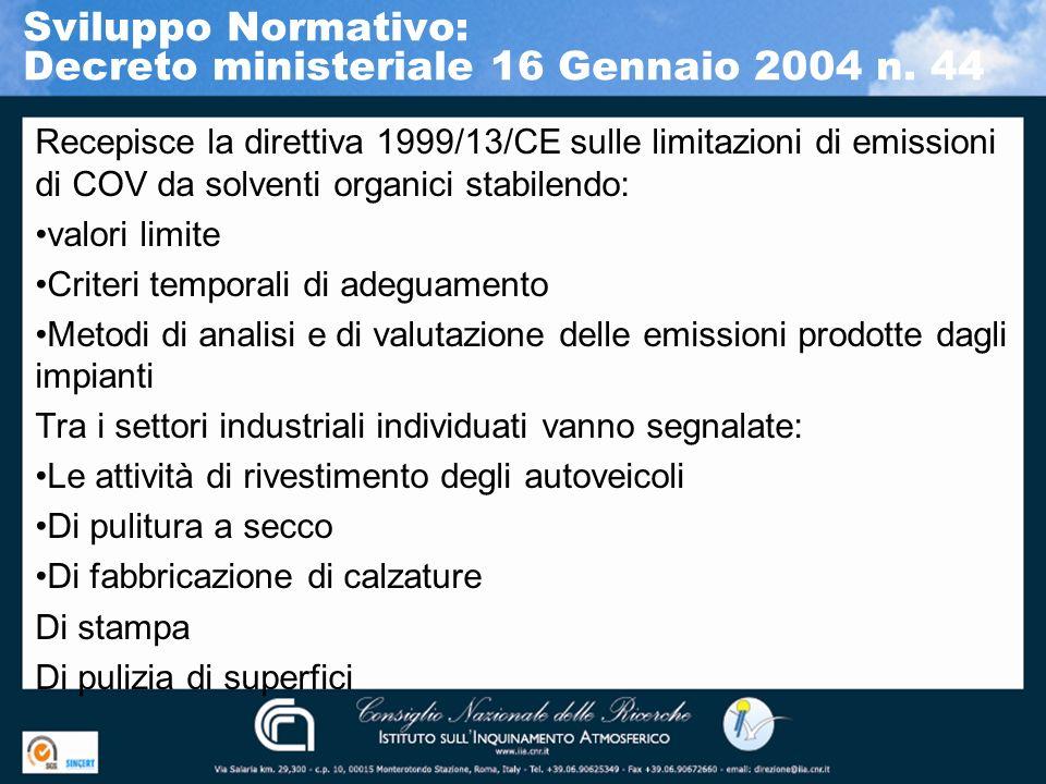 Recepisce la direttiva 1999/13/CE sulle limitazioni di emissioni di COV da solventi organici stabilendo: valori limite Criteri temporali di adeguament