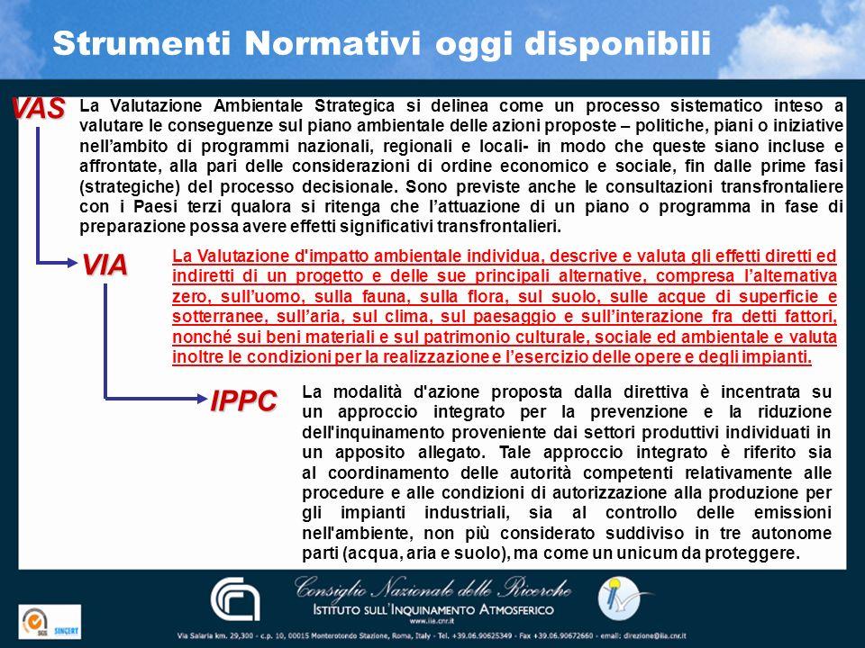 Strumenti Normativi oggi disponibili VAS VIA IPPC La Valutazione Ambientale Strategica si delinea come un processo sistematico inteso a valutare le co