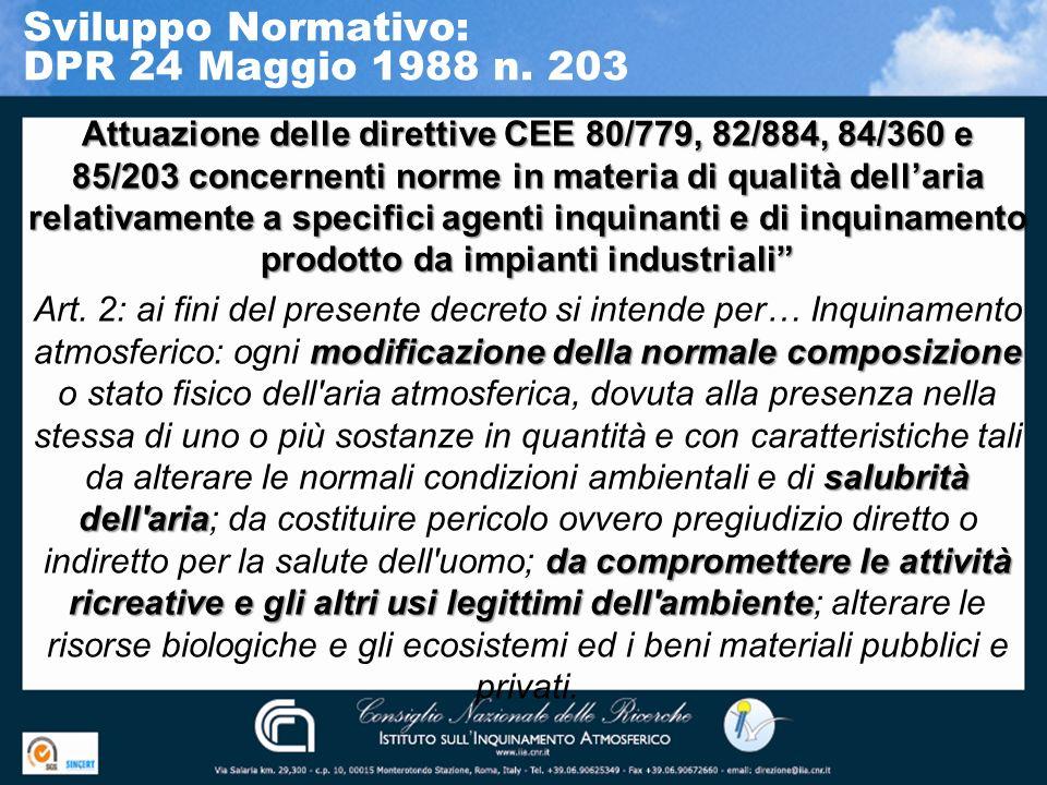 Sviluppo Normativo: DPR 24 Maggio 1988 n. 203 Attuazione delle direttive CEE 80/779, 82/884, 84/360 e 85/203 concernenti norme in materia di qualità d