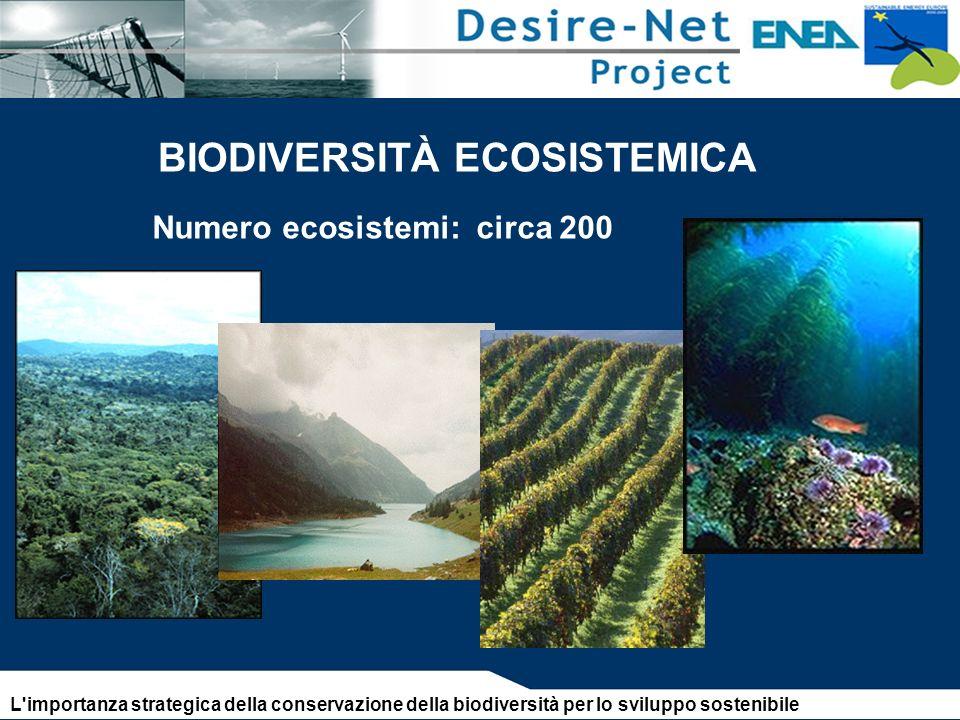 Numero ecosistemi: circa 200 BIODIVERSITÀ ECOSISTEMICA L importanza strategica della conservazione della biodiversità per lo sviluppo sostenibile