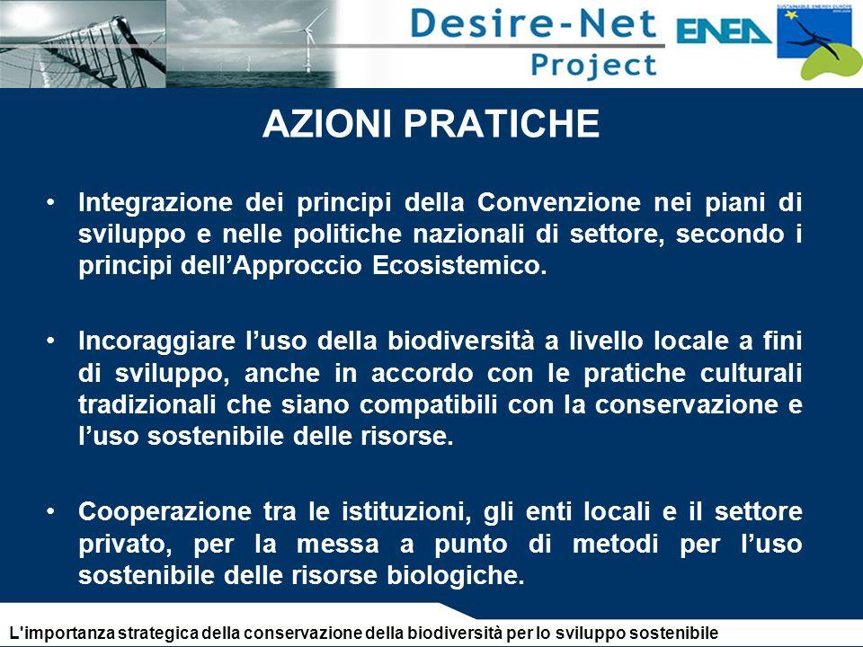 AZIONI PRATICHE Integrazione dei principi della Convenzione nei piani di sviluppo e nelle politiche nazionali di settore, secondo i principi dellApproccio Ecosistemico.