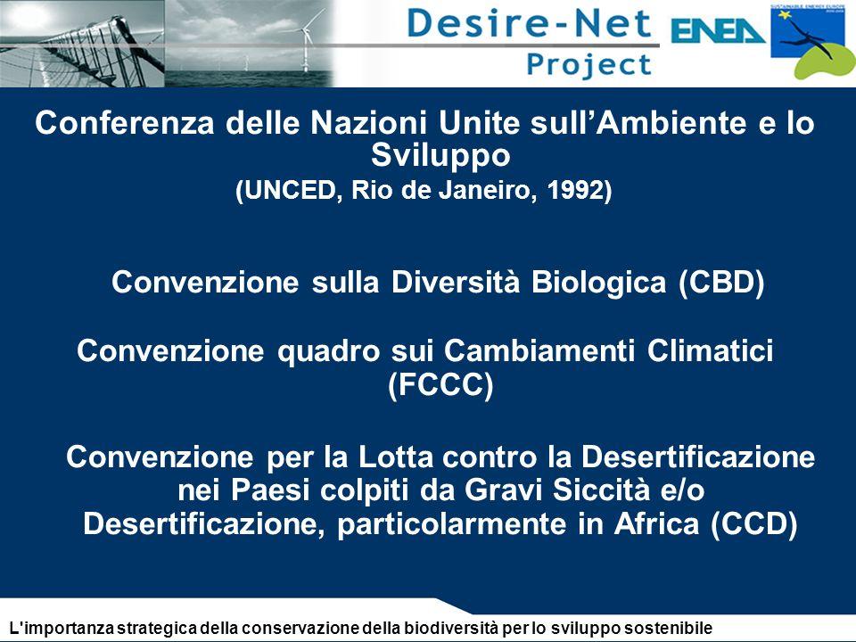 Conferenza delle Nazioni Unite sullAmbiente e lo Sviluppo (UNCED, Rio de Janeiro, 1992) Convenzione sulla Diversità Biologica (CBD) Convenzione quadro sui Cambiamenti Climatici (FCCC) Convenzione per la Lotta contro la Desertificazione nei Paesi colpiti da Gravi Siccità e/o Desertificazione, particolarmente in Africa (CCD) L importanza strategica della conservazione della biodiversità per lo sviluppo sostenibile