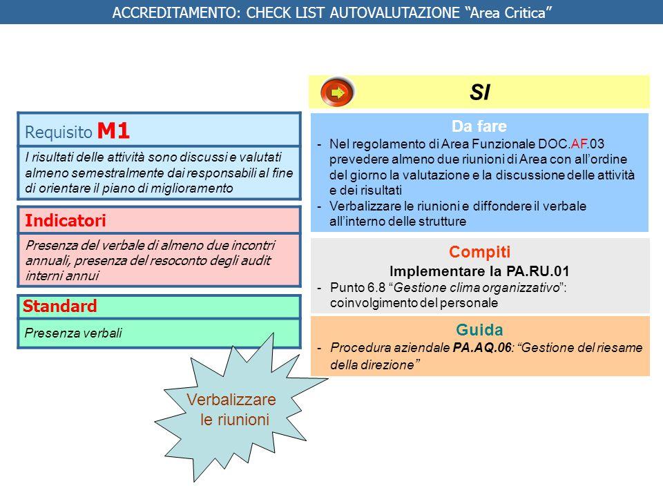 Indicatori 1.Lorganizzazione ha adottato un modello organizzativo per la gestione della TAO coerente con quanto previsto dalla buona pratica regionale 2.