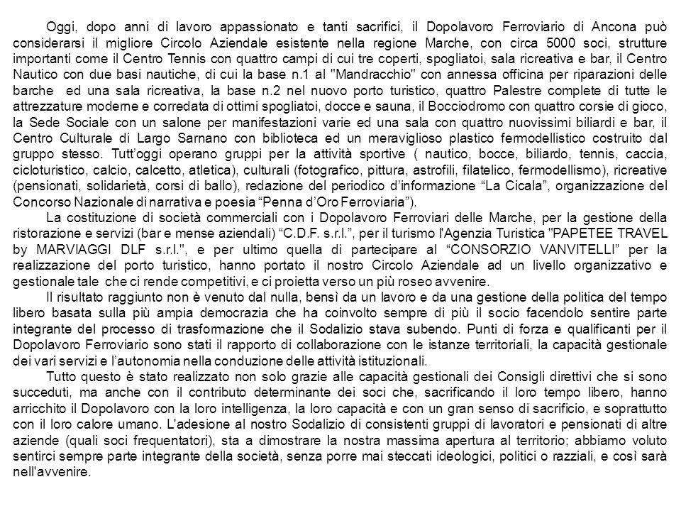Oggi, dopo anni di lavoro appassionato e tanti sacrifici, il Dopolavoro Ferroviario di Ancona può considerarsi il migliore Circolo Aziendale esistente