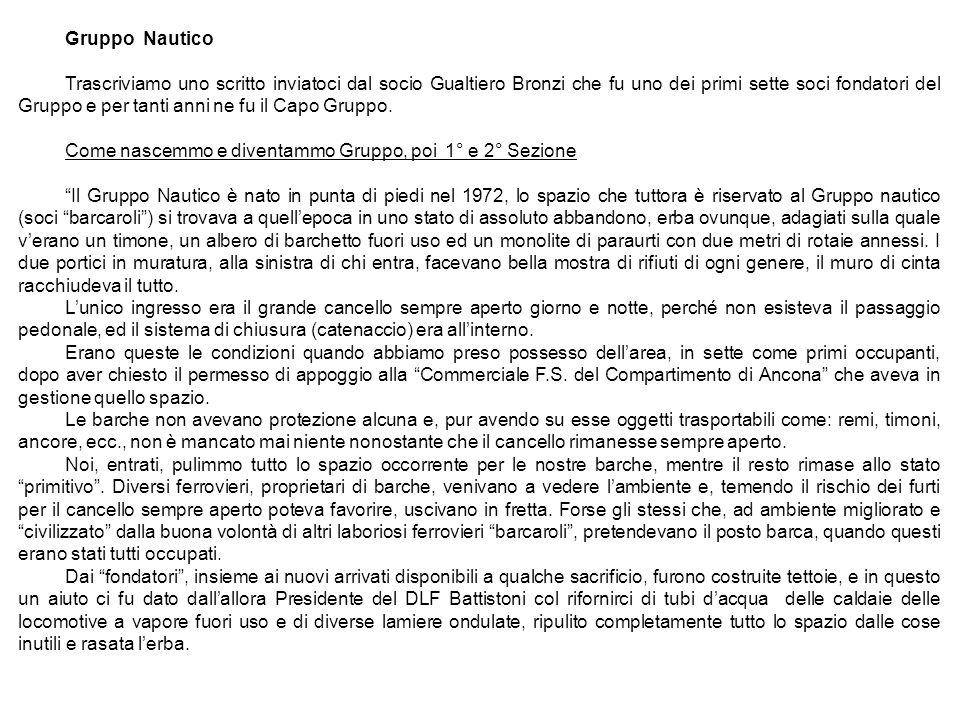 Gruppo Nautico Trascriviamo uno scritto inviatoci dal socio Gualtiero Bronzi che fu uno dei primi sette soci fondatori del Gruppo e per tanti anni ne