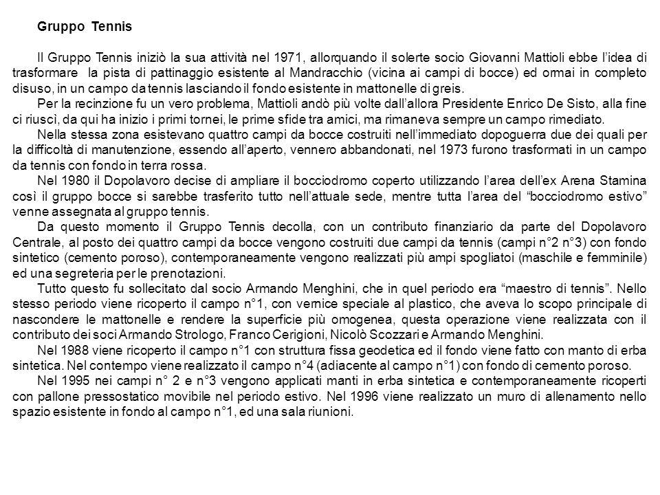 Gruppo Tennis Il Gruppo Tennis iniziò la sua attività nel 1971, allorquando il solerte socio Giovanni Mattioli ebbe lidea di trasformare la pista di p