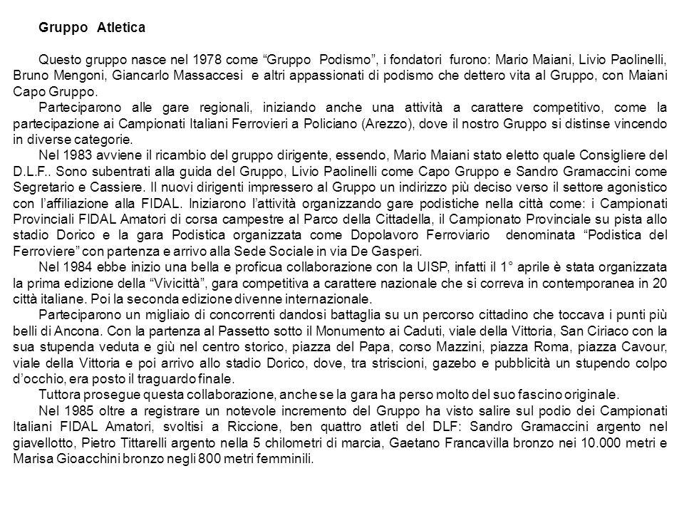 Gruppo Atletica Questo gruppo nasce nel 1978 come Gruppo Podismo, i fondatori furono: Mario Maiani, Livio Paolinelli, Bruno Mengoni, Giancarlo Massacc