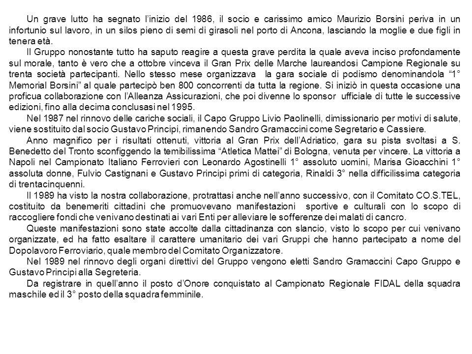 Un grave lutto ha segnato linizio del 1986, il socio e carissimo amico Maurizio Borsini periva in un infortunio sul lavoro, in un silos pieno di semi