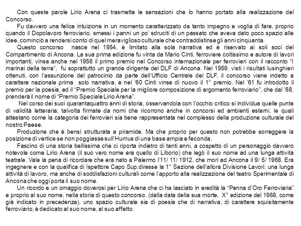Con queste parole Lirio Arena ci trasmette le sensazioni che lo hanno portato alla realizzazione del Concorso. Fu davvero una felice intuizione in un