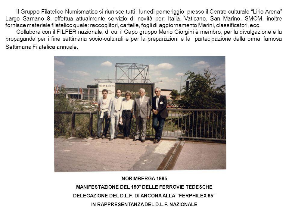 Il Gruppo Filatelico-Numismatico si riunisce tutti i lunedì pomeriggio presso il Centro culturale Lirio Arena Largo Sarnano 8, effettua attualmente se
