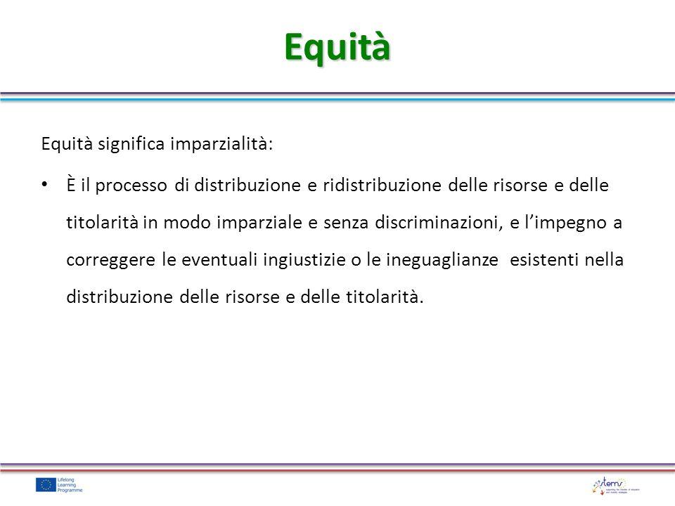 Equità significa imparzialità: È il processo di distribuzione e ridistribuzione delle risorse e delle titolarità in modo imparziale e senza discrimina