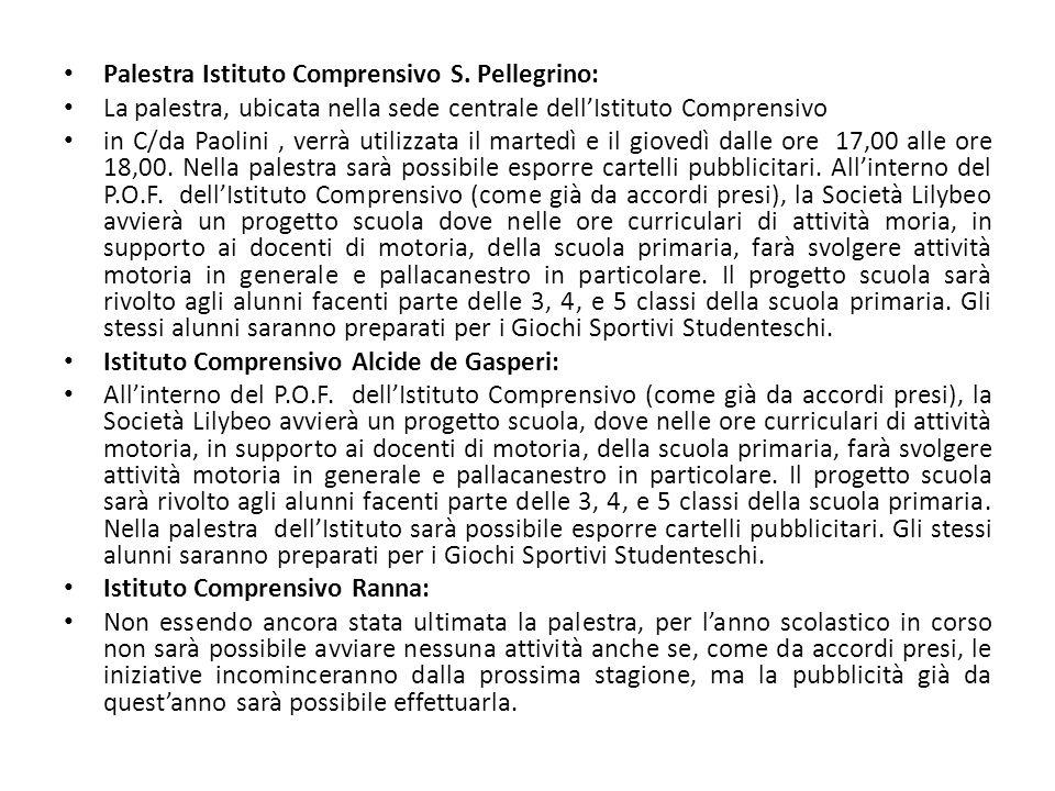Palestra Istituto Comprensivo S. Pellegrino: La palestra, ubicata nella sede centrale dellIstituto Comprensivo in C/da Paolini, verrà utilizzata il ma