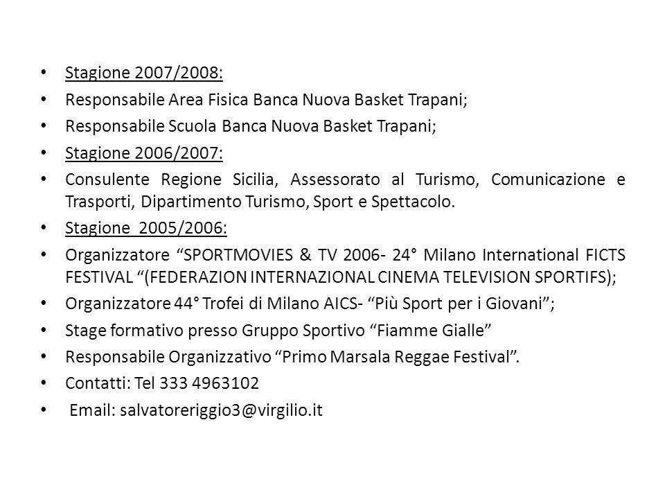 Stagione 2007/2008: Responsabile Area Fisica Banca Nuova Basket Trapani; Responsabile Scuola Banca Nuova Basket Trapani; Stagione 2006/2007: Consulent