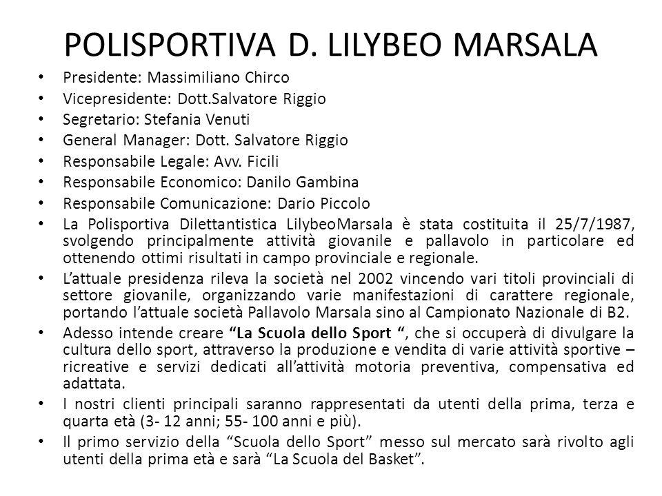 POLISPORTIVA D. LILYBEO MARSALA Presidente: Massimiliano Chirco Vicepresidente: Dott.Salvatore Riggio Segretario: Stefania Venuti General Manager: Dot