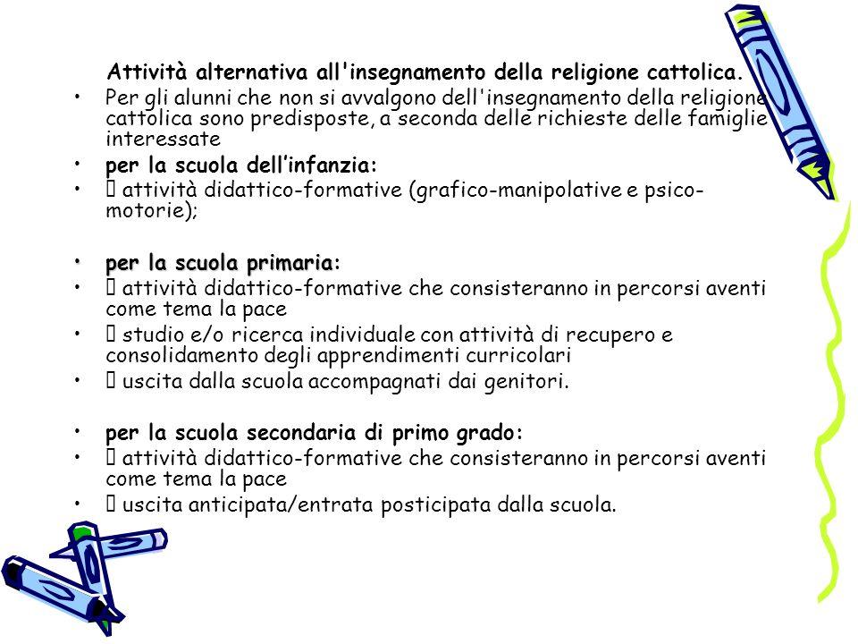 Attività alternativa all'insegnamento della religione cattolica. Per gli alunni che non si avvalgono dell'insegnamento della religione cattolica sono