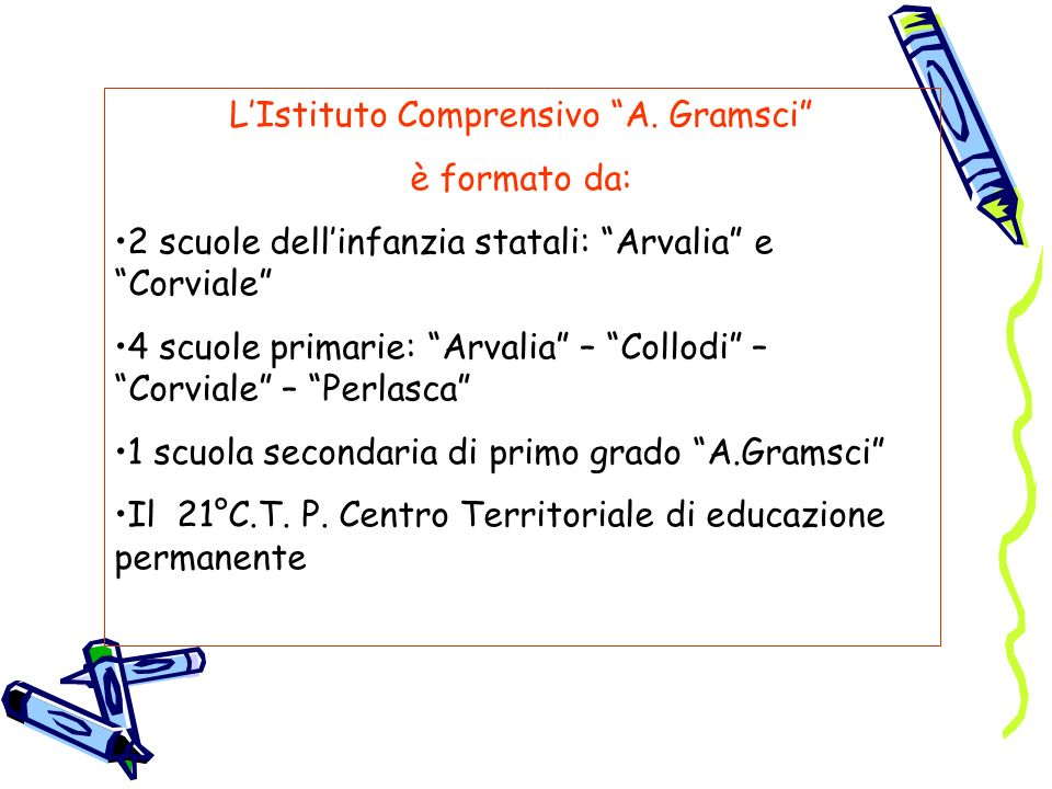 LIstituto Comprensivo A. Gramsci è formato da: 2 scuole dellinfanzia statali: Arvalia e Corviale 4 scuole primarie: Arvalia – Collodi – Corviale – Per