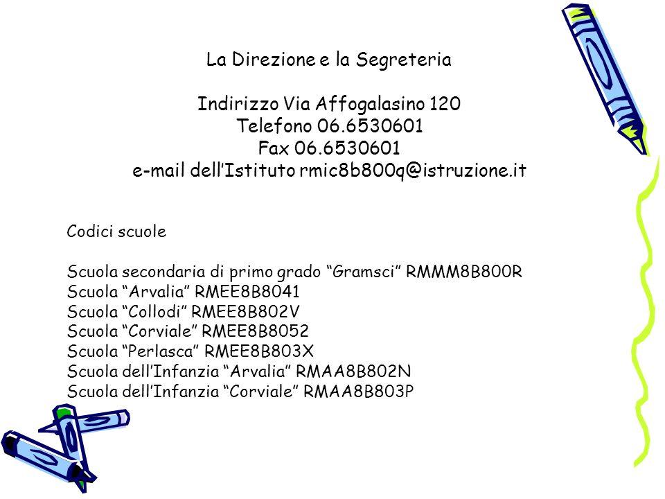 La Direzione e la Segreteria Indirizzo Via Affogalasino 120 Telefono 06.6530601 Fax 06.6530601 e-mail dellIstituto rmic8b800q@istruzione.it Codici scu