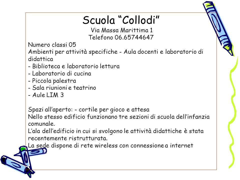Scuola Collodi Via Massa Marittima 1 Telefono 06.65744647 Numero classi 05 Ambienti per attività specifiche - Aula docenti e laboratorio di didattica