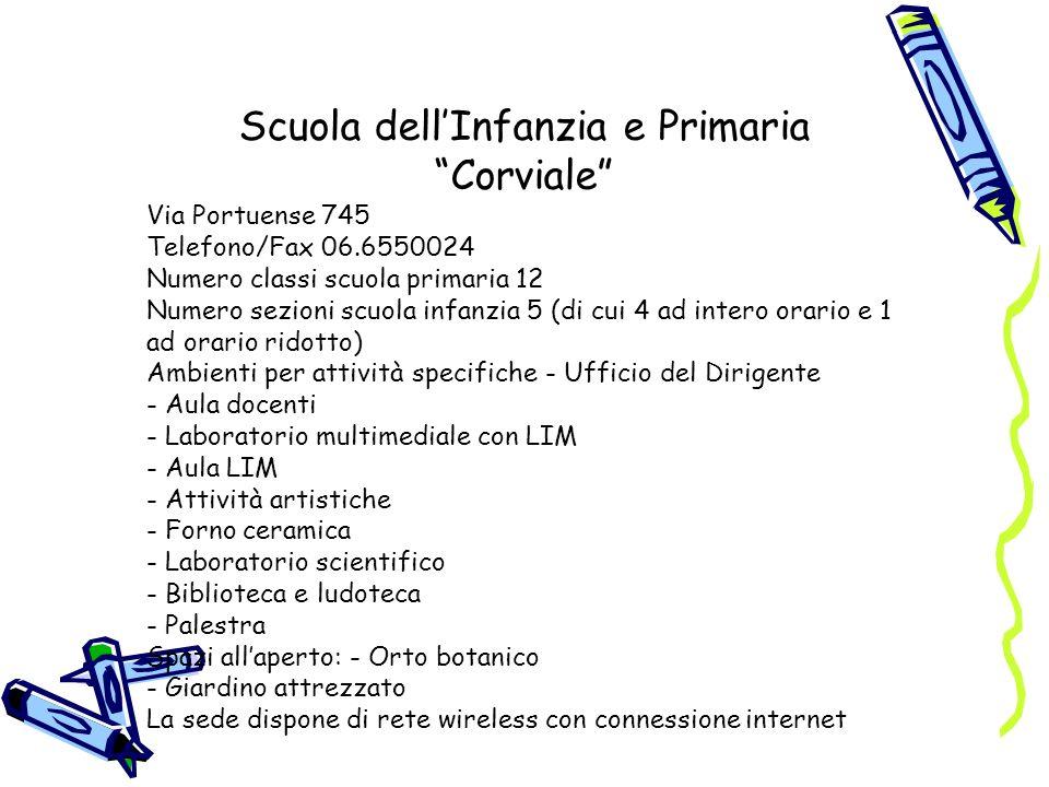 Scuola dellInfanzia e Primaria Corviale Via Portuense 745 Telefono/Fax 06.6550024 Numero classi scuola primaria 12 Numero sezioni scuola infanzia 5 (d