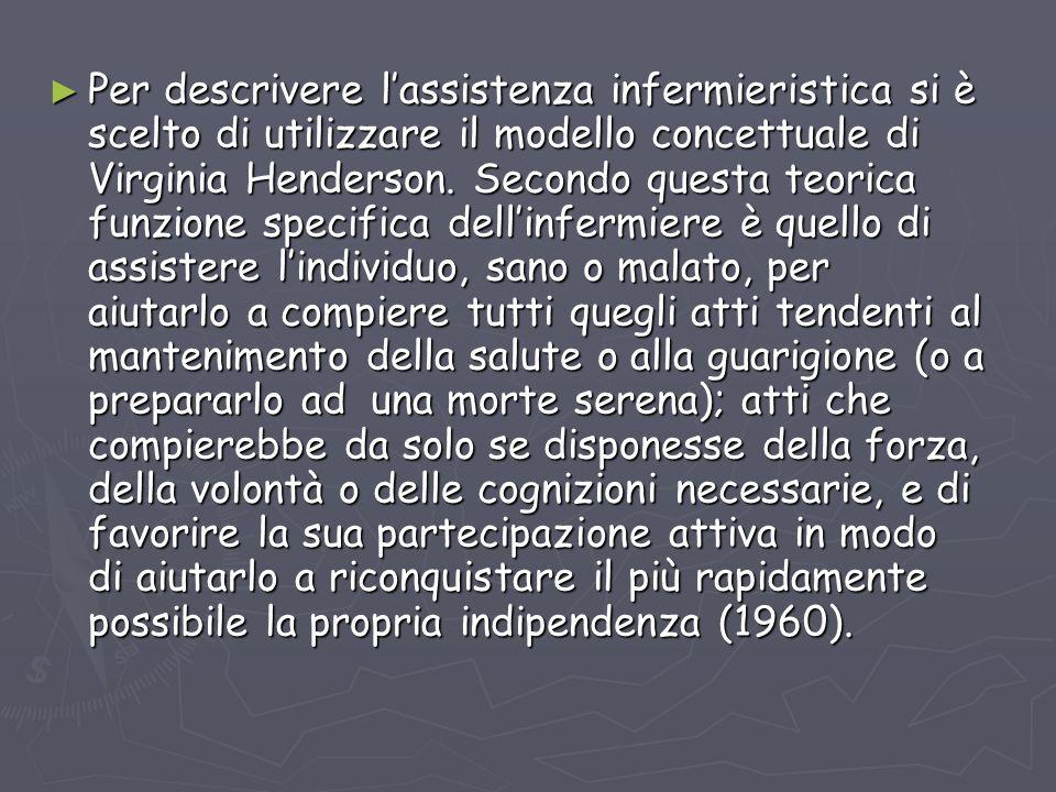 Per descrivere lassistenza infermieristica si è scelto di utilizzare il modello concettuale di Virginia Henderson. Secondo questa teorica funzione spe