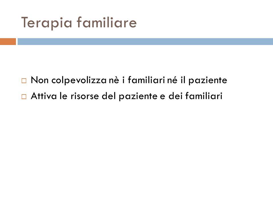 Terapia familiare Non colpevolizza nè i familiari né il paziente Attiva le risorse del paziente e dei familiari