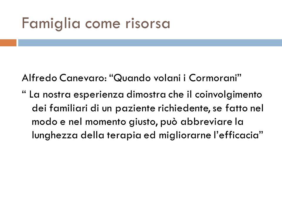 Famiglia come risorsa Alfredo Canevaro: Quando volani i Cormorani La nostra esperienza dimostra che il coinvolgimento dei familiari di un paziente ric