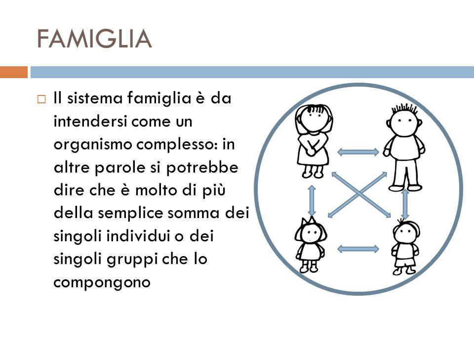 FAMIGLIA Il sistema famiglia è da intendersi come un organismo complesso: in altre parole si potrebbe dire che è molto di più della semplice somma dei
