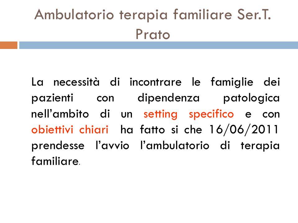 Ambulatorio terapia familiare Ser.T. Prato La necessità di incontrare le famiglie dei pazienti con dipendenza patologica nellambito di un setting spec