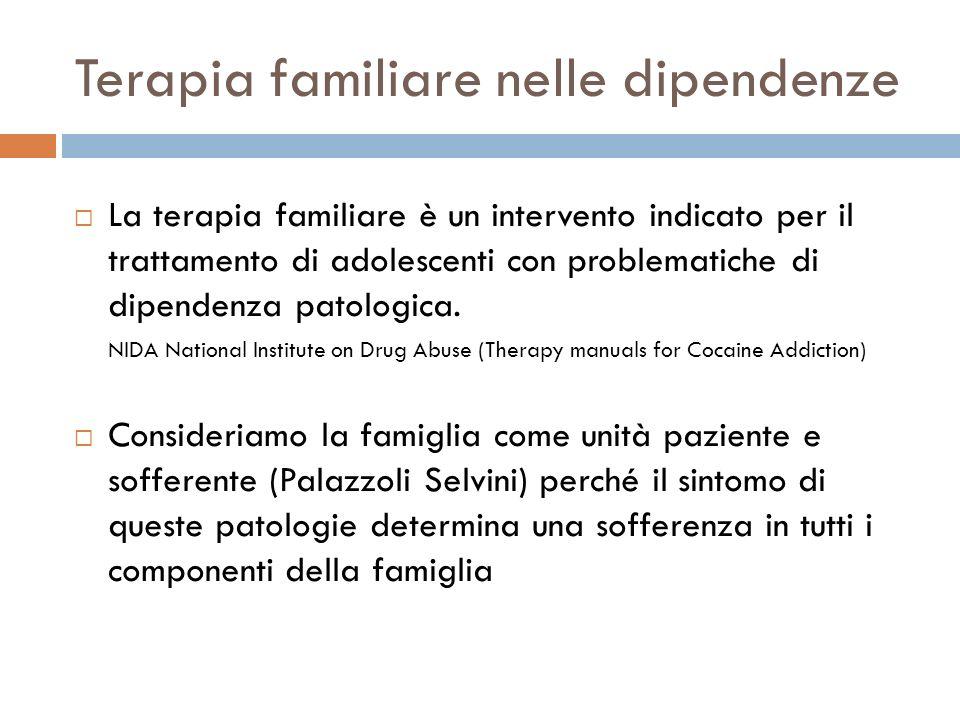 Terapia familiare nelle dipendenze La terapia familiare è un intervento indicato per il trattamento di adolescenti con problematiche di dipendenza pat