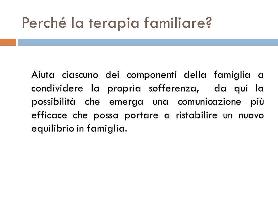 Perché la terapia familiare? Aiuta ciascuno dei componenti della famiglia a condividere la propria sofferenza, da qui la possibilità che emerga una co