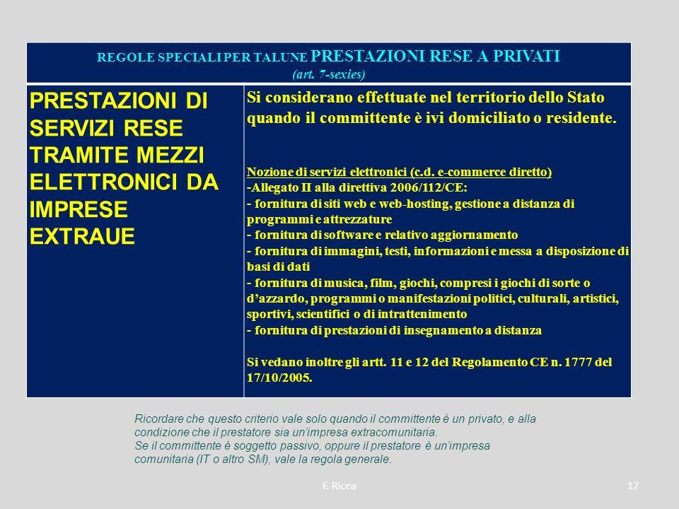 REGOLE SPECIALI PER TALUNE PRESTAZIONI RESE A PRIVATI (art. 7-sexies) PRESTAZIONI DI SERVIZI RESE TRAMITE MEZZI ELETTRONICI DA IMPRESE EXTRAUE Si cons
