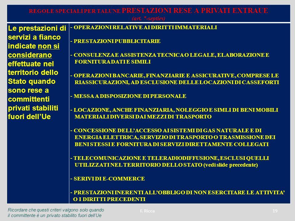 REGOLE SPECIALI PER TALUNE PRESTAZIONI RESE A PRIVATI EXTRAUE (art. 7-septies) Le prestazioni di servizi a fianco indicate non si considerano effettua