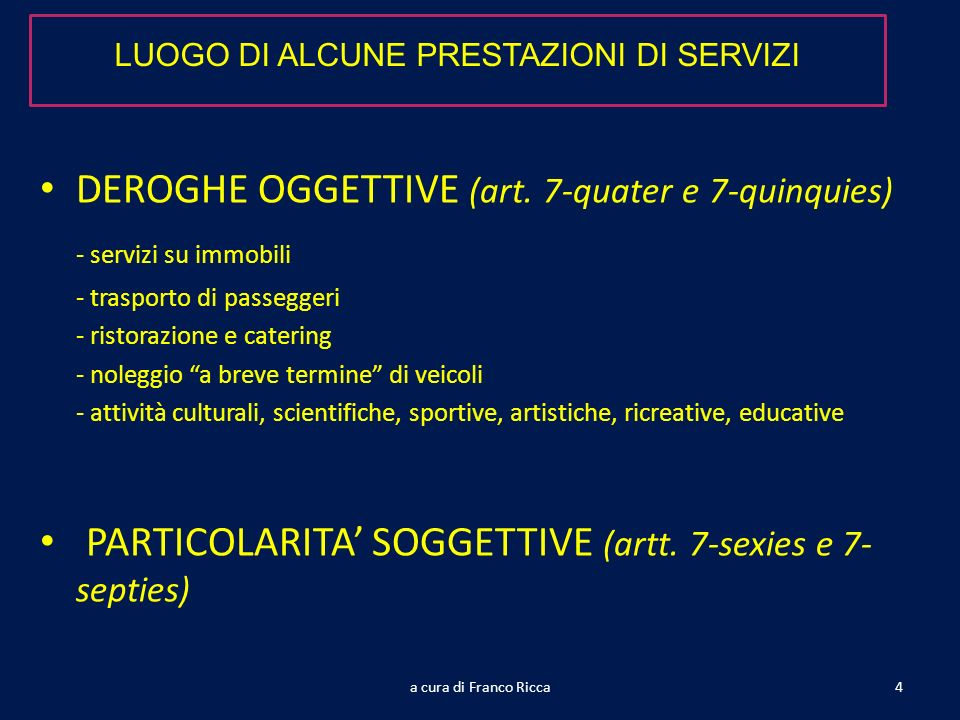 DEROGHE OGGETTIVE (art. 7-quater e 7-quinquies) - servizi su immobili - trasporto di passeggeri - ristorazione e catering - noleggio a breve termine d