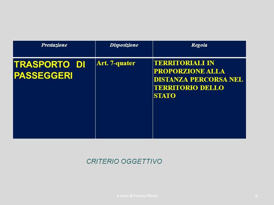 a cura di Franco Ricca6 PrestazioneDisposizioneRegola TRASPORTO DI PASSEGGERI Art. 7-quaterTERRITORIALI IN PROPORZIONE ALLA DISTANZA PERCORSA NEL TERR