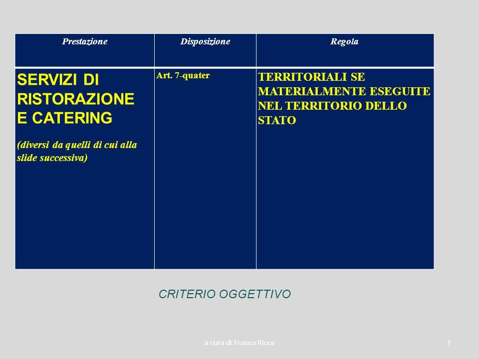 a cura di Franco Ricca7 PrestazioneDisposizioneRegola SERVIZI DI RISTORAZIONE E CATERING (diversi da quelli di cui alla slide successiva) Art. 7-quate