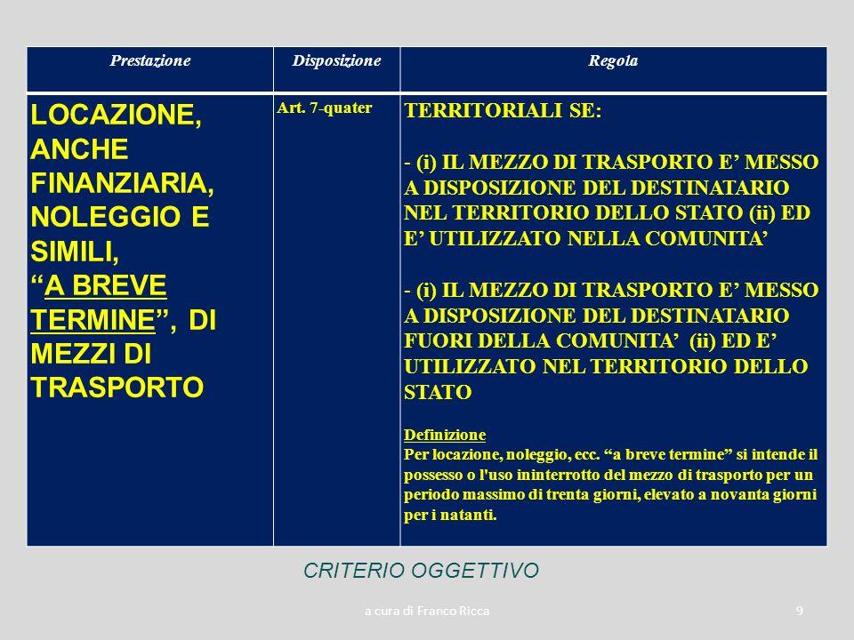 a cura di Franco Ricca9 PrestazioneDisposizioneRegola LOCAZIONE, ANCHE FINANZIARIA, NOLEGGIO E SIMILI, A BREVE TERMINE, DI MEZZI DI TRASPORTO Art. 7-q
