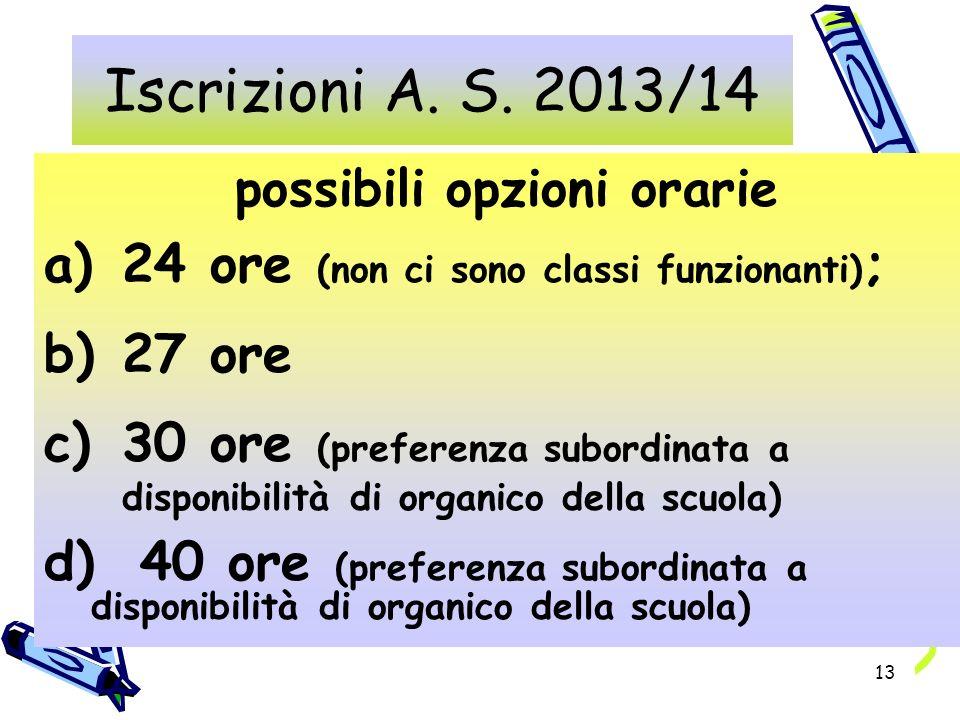 13 possibili opzioni orarie a)24 ore (non ci sono classi funzionanti) ; b)27 ore c)30 ore (preferenza subordinata a disponibilità di organico della scuola) d)40 ore (preferenza subordinata a disponibilità di organico della scuola) Iscrizioni A.
