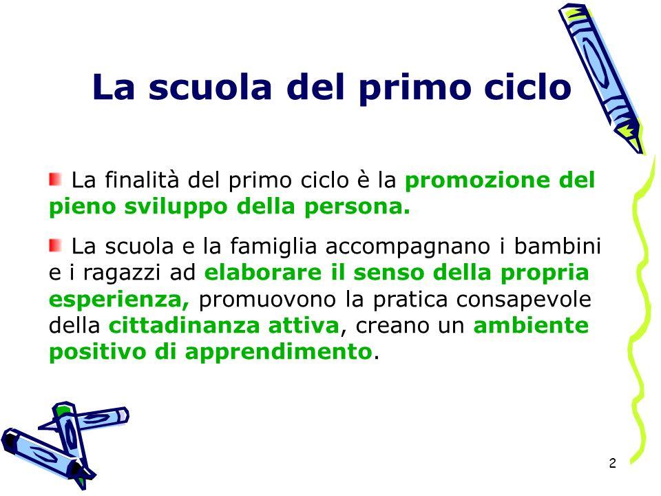 2 La scuola del primo ciclo La finalità del primo ciclo è la promozione del pieno sviluppo della persona.