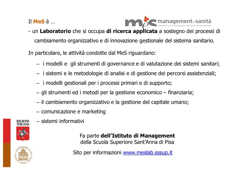 Il MeS è … - un Laboratorio che si occupa di ricerca applicata a sostegno dei processi di cambiamento organizzativo e di innovazione gestionale del si