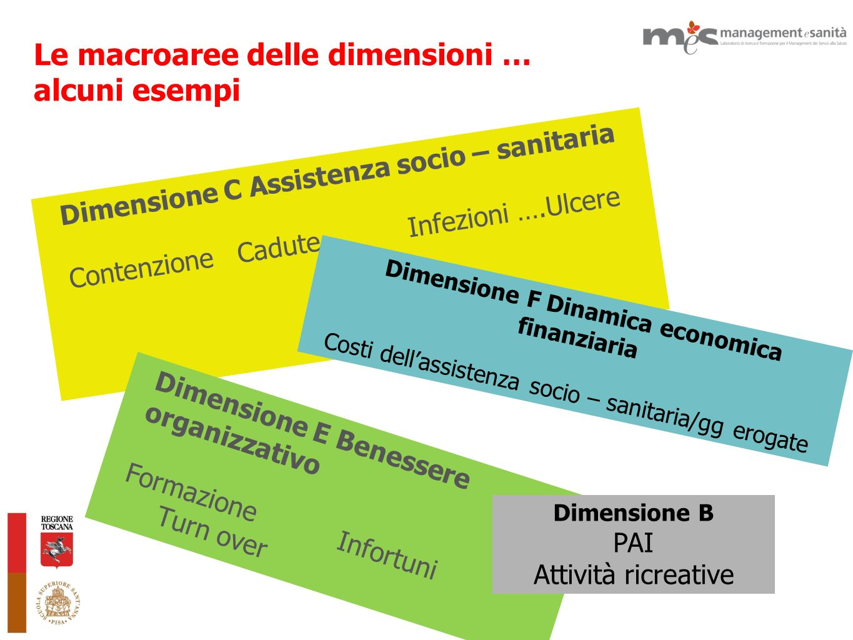 Le macroaree delle dimensioni … alcuni esempi Dimensione C Assistenza socio – sanitaria Contenzione Cadute Infezioni ….Ulcere Dimensione E Benessere o