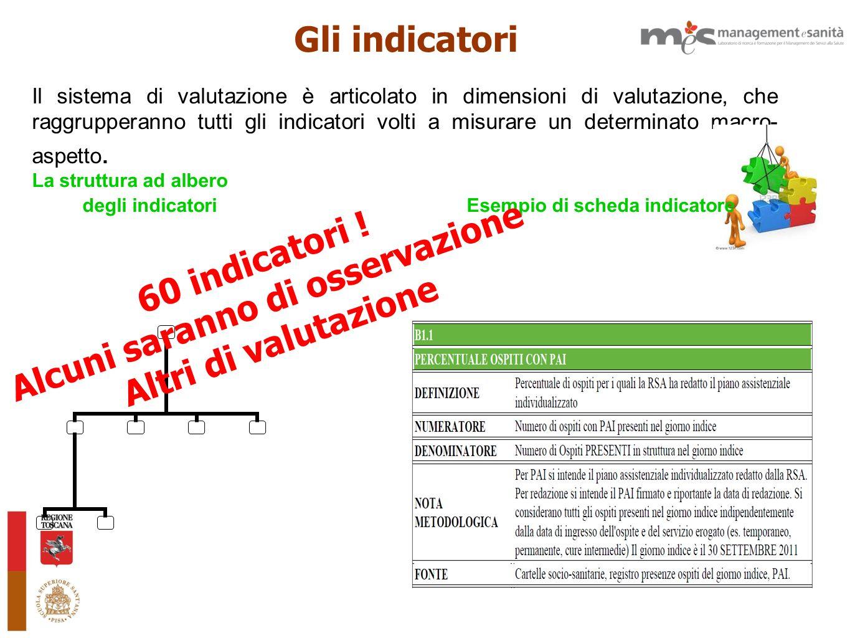 Il sistema di valutazione è articolato in dimensioni di valutazione, che raggrupperanno tutti gli indicatori volti a misurare un determinato macro- as