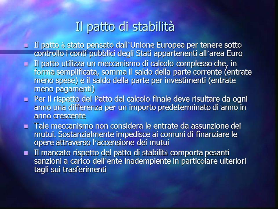 Il patto di stabilità Il patto è stato pensato dall Unione Europea per tenere sotto controllo i conti pubblici degli Stati appartenenti all area Euro Il patto è stato pensato dall Unione Europea per tenere sotto controllo i conti pubblici degli Stati appartenenti all area Euro Il patto utilizza un meccanismo di calcolo complesso che, in forma semplificata, somma il saldo della parte corrente (entrate meno spese) e il saldo della parte per investimenti (entrate meno pagamenti) Il patto utilizza un meccanismo di calcolo complesso che, in forma semplificata, somma il saldo della parte corrente (entrate meno spese) e il saldo della parte per investimenti (entrate meno pagamenti) Per il rispetto del Patto dal calcolo finale deve risultare da ogni anno una differenza per un importo predeterminato di anno in anno crescente Per il rispetto del Patto dal calcolo finale deve risultare da ogni anno una differenza per un importo predeterminato di anno in anno crescente Tale meccanismo non considera le entrate da assunzione dei mutui.