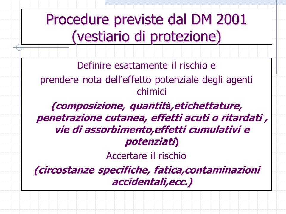 Procedure previste dal DM 2001 (vestiario di protezione) Definire esattamente il rischio e prendere nota dell effetto potenziale degli agenti chimici