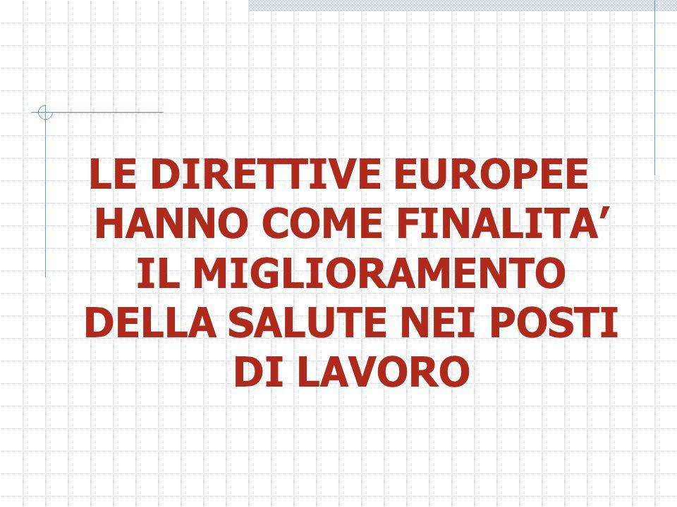 LE DIRETTIVE EUROPEE HANNO COME FINALITA IL MIGLIORAMENTO DELLA SALUTE NEI POSTI DI LAVORO