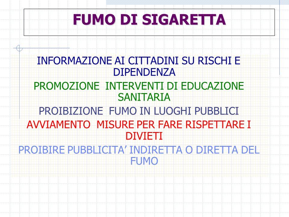 FUMO DI SIGARETTA INFORMAZIONE AI CITTADINI SU RISCHI E DIPENDENZA PROMOZIONE INTERVENTI DI EDUCAZIONE SANITARIA PROIBIZIONE FUMO IN LUOGHI PUBBLICI A