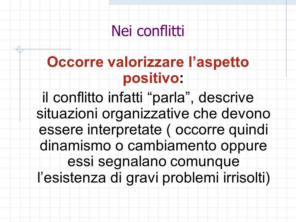 Nei conflitti Occorre valorizzare laspetto positivo: il conflitto infatti parla, descrive situazioni organizzative che devono essere interpretate ( oc