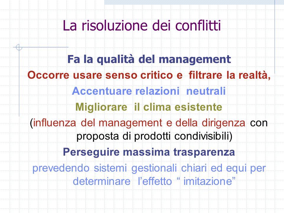 La risoluzione dei conflitti Fa la qualità del management Occorre usare senso critico e filtrare la realtà, Accentuare relazioni neutrali Migliorare i