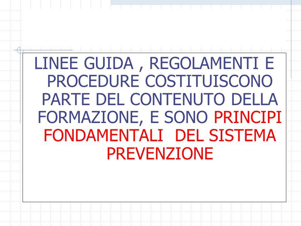 LINEE GUIDA, REGOLAMENTI E PROCEDURE COSTITUISCONO PARTE DEL CONTENUTO DELLA FORMAZIONE, E SONO PRINCIPI FONDAMENTALI DEL SISTEMA PREVENZIONE