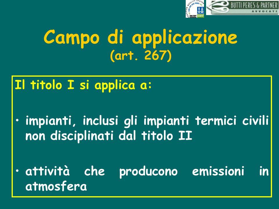 Campo di applicazione (art. 267) Il titolo I si applica a: impianti, inclusi gli impianti termici civili non disciplinati dal titolo II attività che p