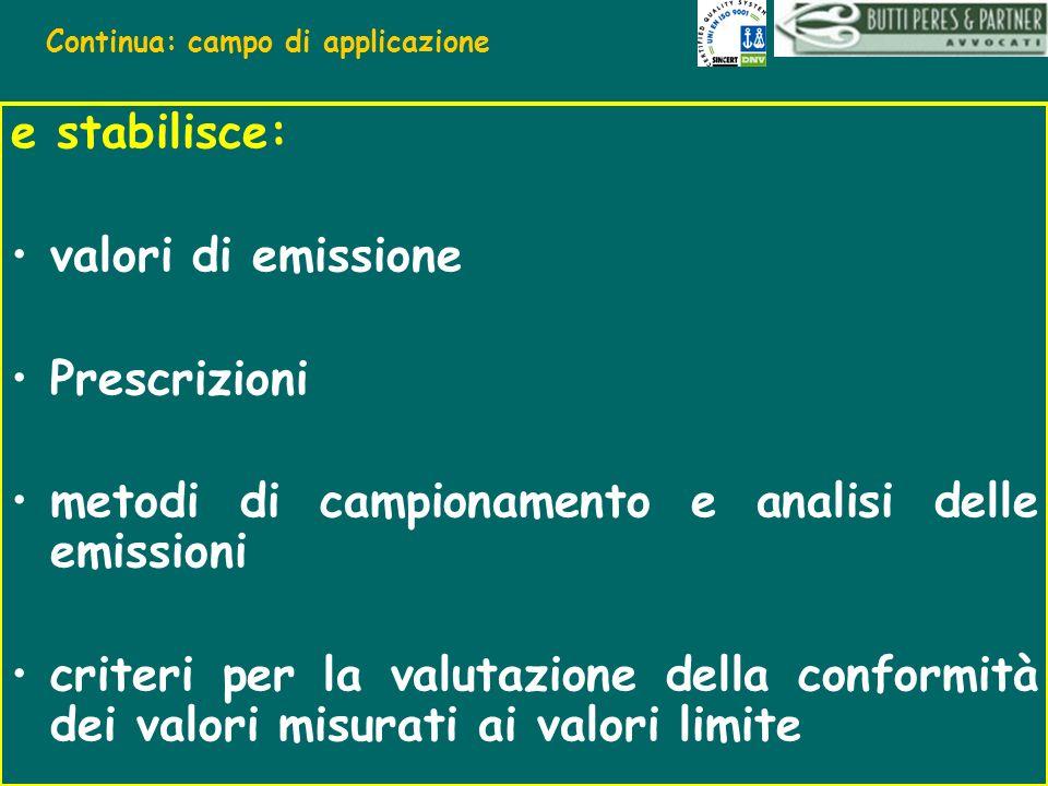 Continua: campo di applicazione e stabilisce: valori di emissione Prescrizioni metodi di campionamento e analisi delle emissioni criteri per la valuta